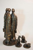 A bronze sculpture by Michael Hermesh that depicts three Lawyers looking upwards while their dogs are absorbed in something else