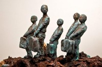A ceramic sculpture by Michael Hermesh that depicts five passengers carrying suitcases standing on the backs of birds of prey that are riding in a boat